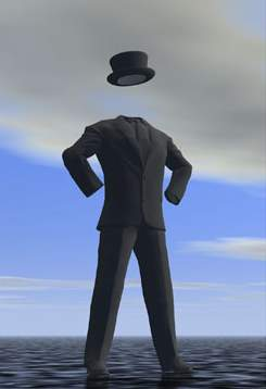Invisible man stands against the sky getsturing dramatically (hat and coat visible)