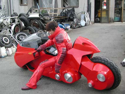 A real life recreation of the motorcycle of Kaneda, the main protagonist of the manga Akira