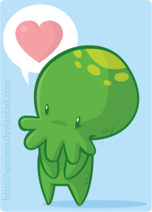 Please enjoy this adorable Cthulhu from julianvanbores at deviantart. Because the other images gave me nightmares, that's why.