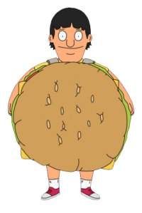 Although he does have his son dress up in a burger costume, which one could argue -- successfully, I believe -- would be considered child abuse.