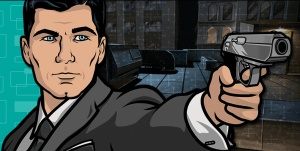 Here's Sterling Archer, lookin' good in a suit, about to shoot, oh, I don't know, let's say ... Brett?