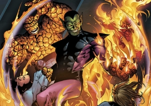 I do know that a Super Skrull has the combined powers of the Fantastic Four, so I'll get that one right on Jeopardy.