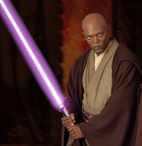 Oooh! Snazzy purple lightsaber!