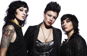 This is lesbian rock band Hunter Valentine, who all have better hair than me.